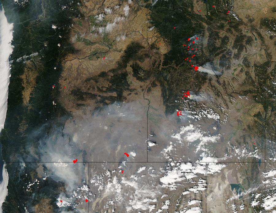 Fires and smoke in western United States